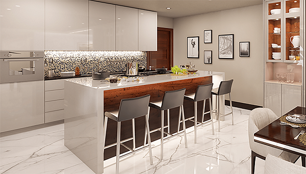 Island kitchen in an exquisite home at The Treeline, ultra-luxury apartments at Jakkur plantation