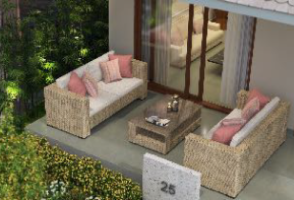 Spacious patio with polished Kota stone flooring and a garden, at Beverly Woods, Sarjapur ext